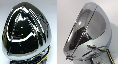 Chrome Motorcycle Headlight Bucket - Fits Harley Grooved Smooth