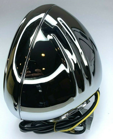 Chrome Motorcycle Headlight Bucket - Fits Harley Grooved