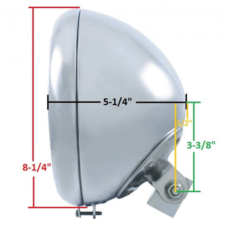 Chrome Motorcycle Headlight Bucket - Fits Harley Smooth - Measurements
