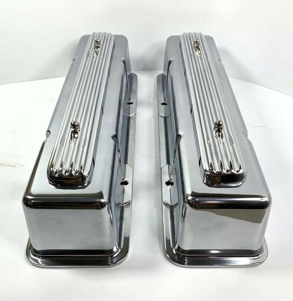 """Rocket"" Finned Aluminum Tall Valve Covers for 1958-86 SBC Chevy - Show Quality-Live Fast Supply Company"