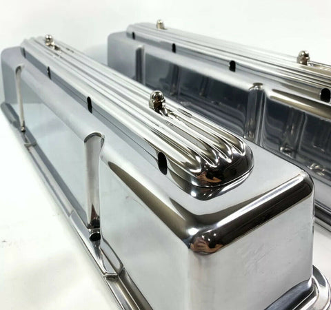 "Image of ""Rocket"" Finned Aluminum Tall Valve Covers for 1958-86 SBC Chevy - Show Quality-Live Fast Supply Company"