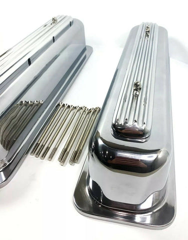 Image of Rocket Finned Aluminum Center Bolt Valve Covers Tall for SBC Chevy - Show Quality-Live Fast Supply Company