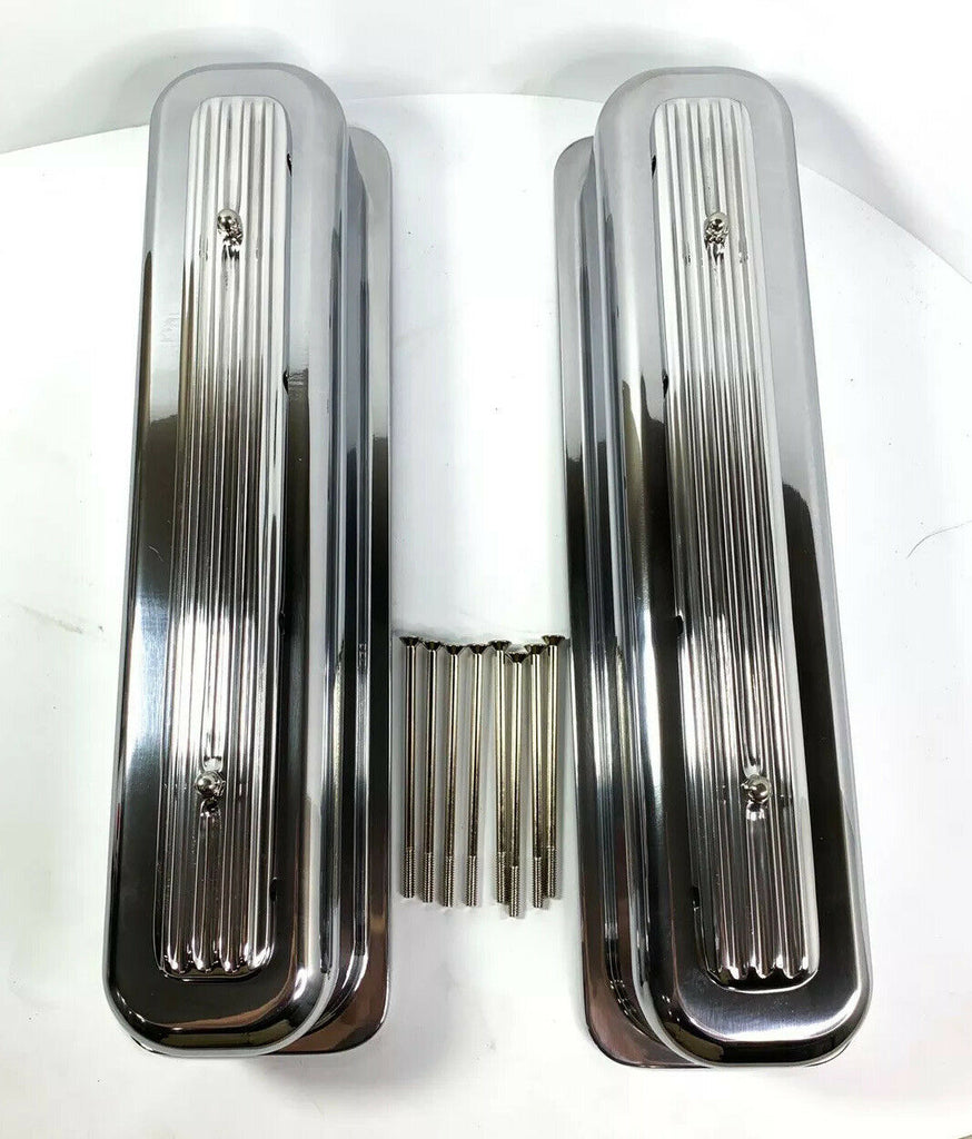 Rocket Finned Aluminum Center Bolt Valve Covers Tall for SBC Chevy - Show Quality-Live Fast Supply Company