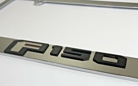 Ford F-150 License Plate Frame - Chrome with Black Script