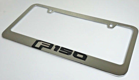 Ford F-150 License Plate Frame - Chrome with Black Letters