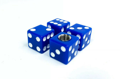 Dice Tire Wheel Valve Stem Caps - Blue w/ White Dots-Live Fast Supply Company