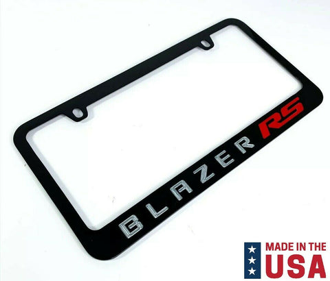 Chevy Blazer RS Engraved Black Metal License Plate Frame - Red & Silver Fill