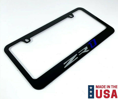 Chevy C7 Corvette ZR1 Engraved Black Metal License Plate Frame - Blue & Silver-Live Fast Supply Company