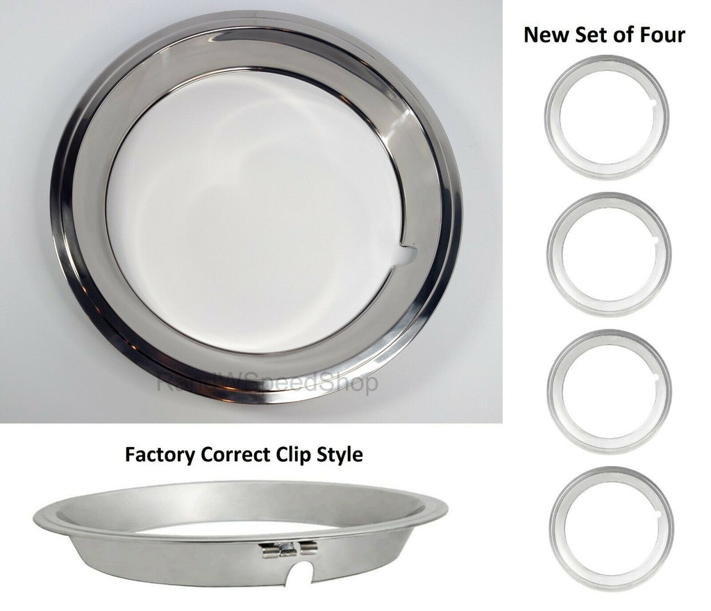 Set of 4 Beauty Rings w/ Factory Correct Clips for 14x6 GM Rally Wheels 1967-1969-Live Fast Supply Company