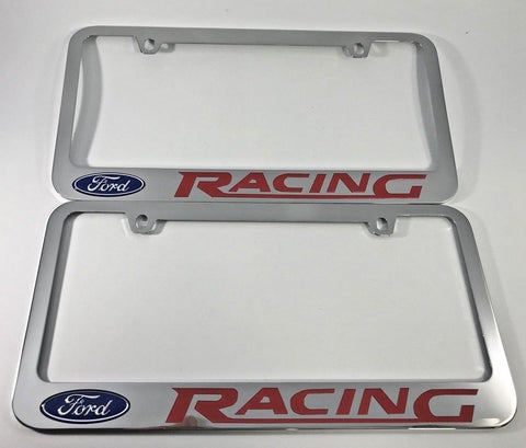 Pair (2) Ford Racing Metal License Plate Frames-Live Fast Supply Company