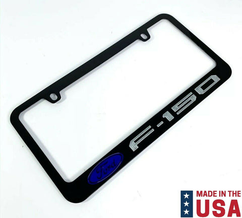 Ford F-150 Engraved Black Metal License Plate Frame - Blue Emblem & Silver Fill-Live Fast Supply Company