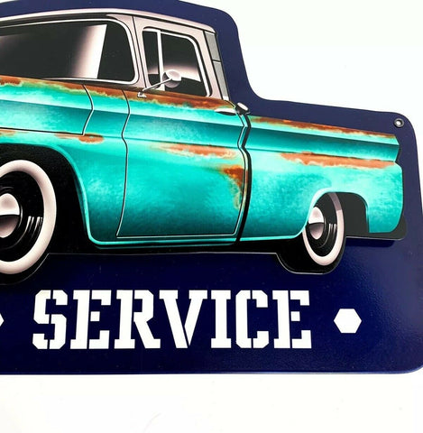 1960 Chevy C10 Pickup Truck Parts & Service Metal Sign - Bottom
