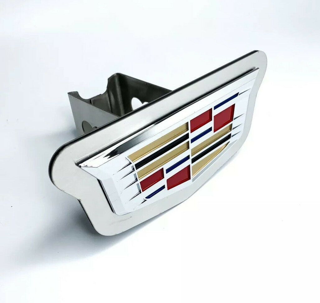 "Chrome 2014 Cadillac Emblem Trailer Tow Hitch Cover (Stainless Steel 2"" Plug)"