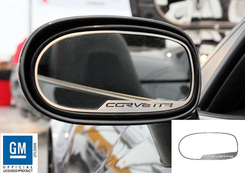 Image of Pair Exterior Brushed Stainless Mirror Trim w/ Script For 2005-2013 C6 Corvette-Live Fast Supply Company