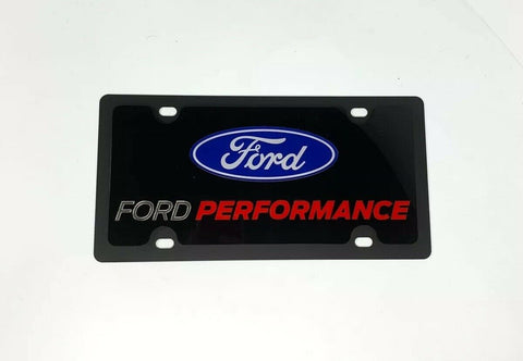 Ford Performance License Plate - Black with Red & White Script - Top