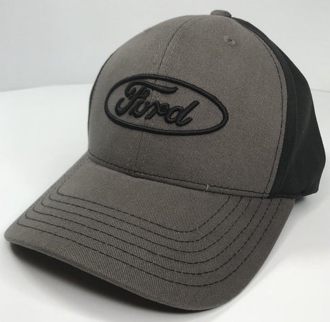 Image of Grey Ford emblem hat with black stitched logo (Front)