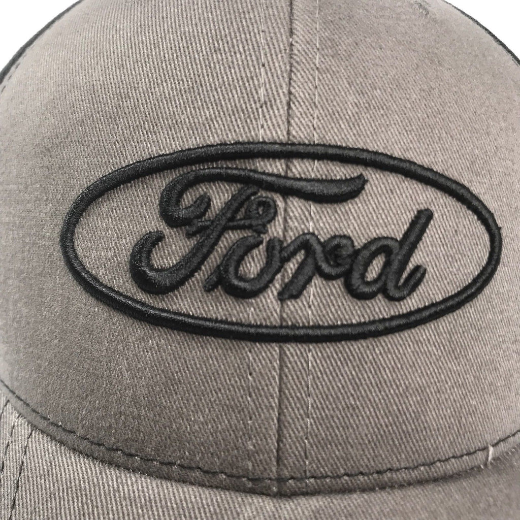 Grey Ford emblem hat with black stitched logo (Top)