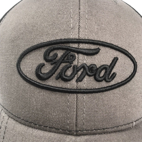 Image of Grey Ford emblem hat with black stitched logo (Top)