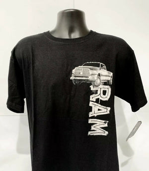 Black T-Shirt w/ Dodge Ram Truck Emblem Logo - Licensed
