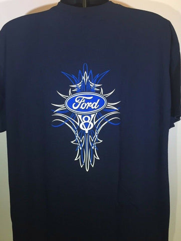 Image of Ford V8 T Shirt - Blue Pinstripe Logo / Emblem - Main