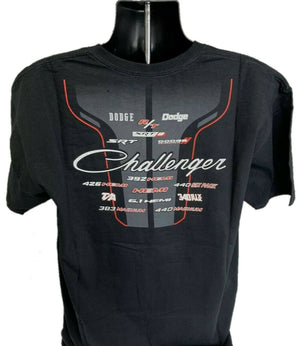 Dodge Challenger T-Shirt - Black w/ Multiple Trim & Engine Emblems - Back