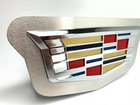 "Chrome 2014 Cadillac Emblem Trailer Tow Hitch Cover (Stainless Steel 2"" Plug) - Front 2"