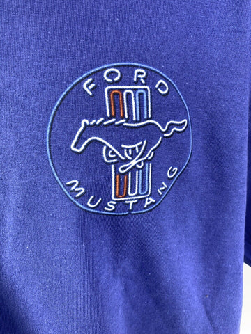 Image of Ford Mustang T-Shirt - Blue w/ 1964-1968 Gas Station Scene - Logo