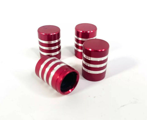 (Set/4) Red Tire Valve Stem Caps - Red Billet Aluminum w/ Brushed Rings - Set