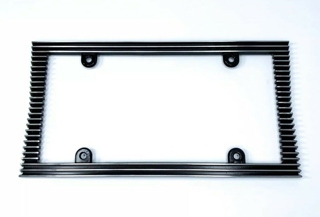 Finned License Plate Frame - Polished Vintage Style (Front)