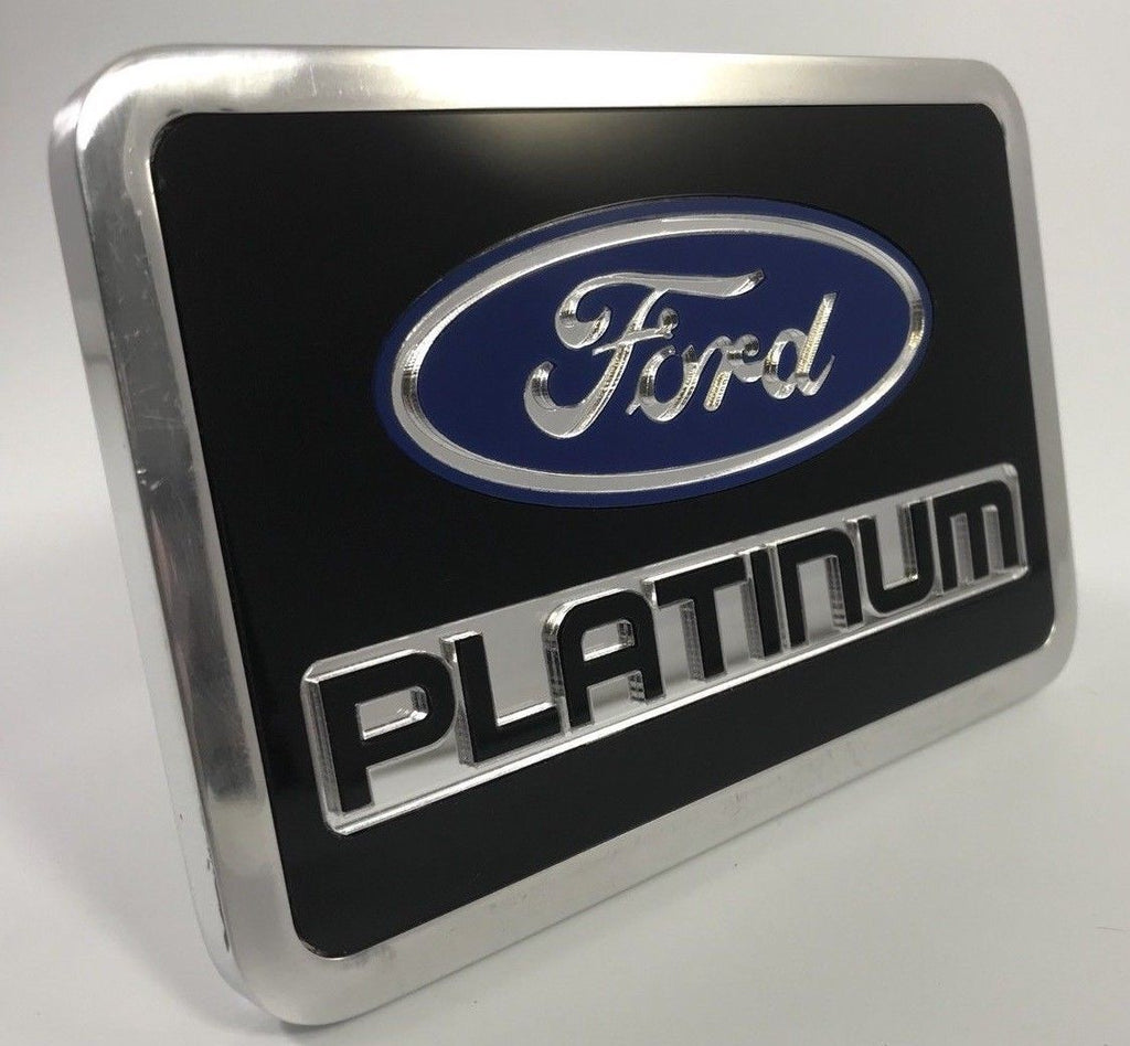 Ford Platinum Emblem Hitch Cover - Black Billet Aluminum (Front)