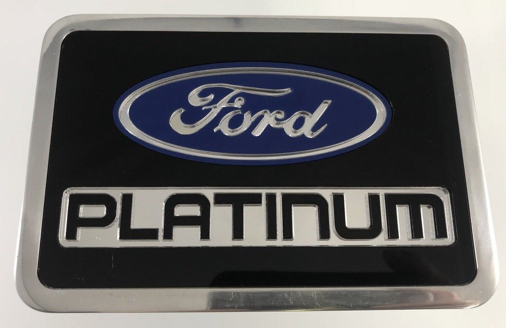 Ford Platinum Emblem Hitch Cover - Black Billet Aluminum (Top)
