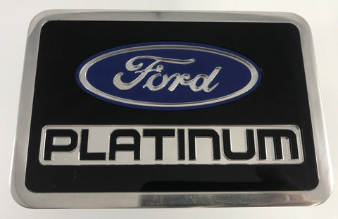 Image of Ford Platinum Emblem Hitch Cover - Black Billet Aluminum (Top)
