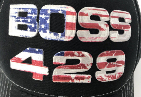 Image of Ford Mustang Boss 429 American Flag Script Hat (Top)