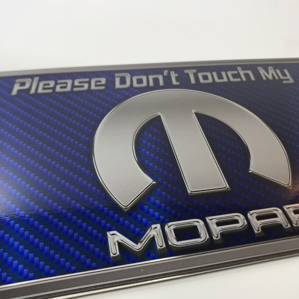 Please Don't Touch My Mopar Sign - Blue Carbon Fiber Dash Plaque for Car Shows - Close up