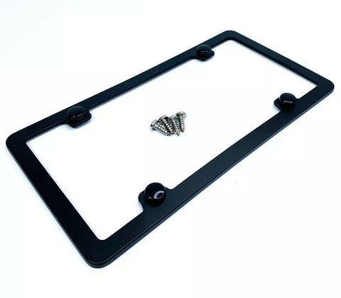 Blank Black License Plate Frame - Blank With Screws (Top)