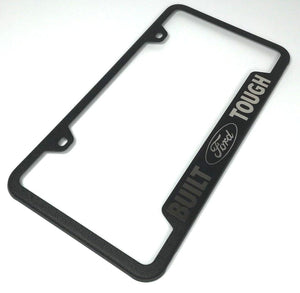 Built Ford Tough License Plate Frame - Black with Logo (Main)