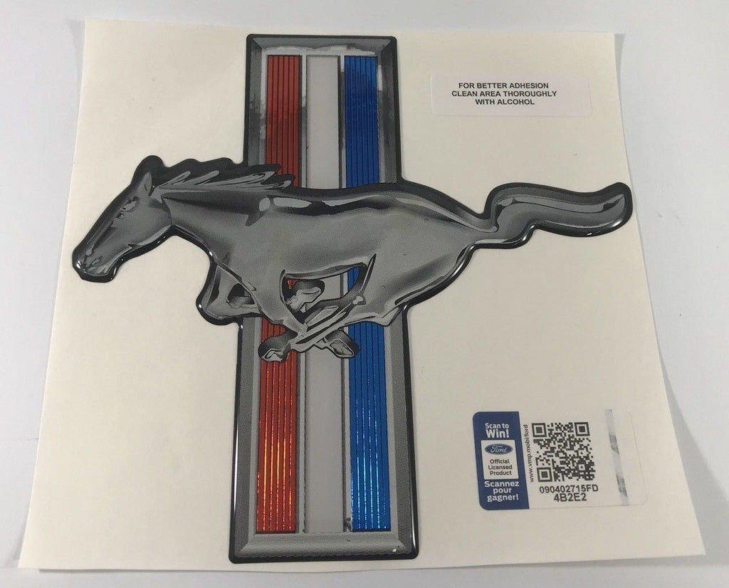 Ford Mustang Decal - Red White & Blue Stripes with Mustang Horse Logo - Main