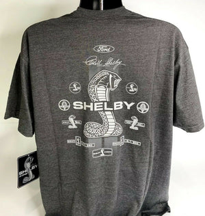 Shelby Cobra T Shirt - Gray w/ Signature Snake Emblems