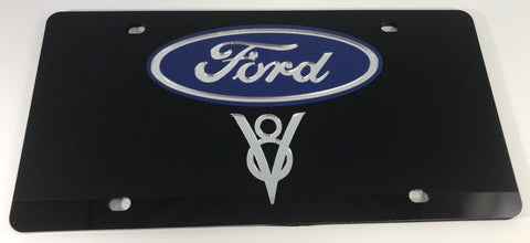 Ford V8 License Plate - Black Acrylic with Emblem