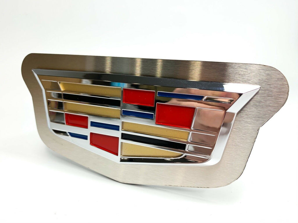 "Chrome 2014 Cadillac Emblem Trailer Tow Hitch Cover (Stainless Steel 2"" Plug) - Front 3"