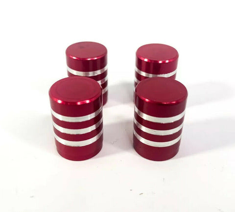(Set/4) Red Tire Valve Stem Caps - Red Billet Aluminum w/ Brushed Rings - 4