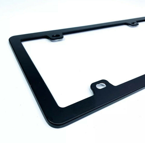 Blank Black License Plate Frame - Blank Standard US (Side)