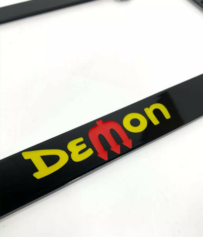Dodge Demon License Plate Frame - Black with Yellow & Red Script - 2