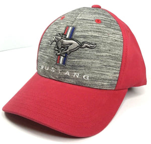 Classic Ford Mustang Hat - Grey Front with Red Backing (Front)