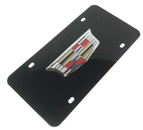 Cadillac License Plate - Black with Chrome Emblem (Main)