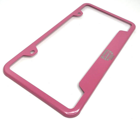 Jeep License Plate Frame - Pink with Grille Emblem (Main)