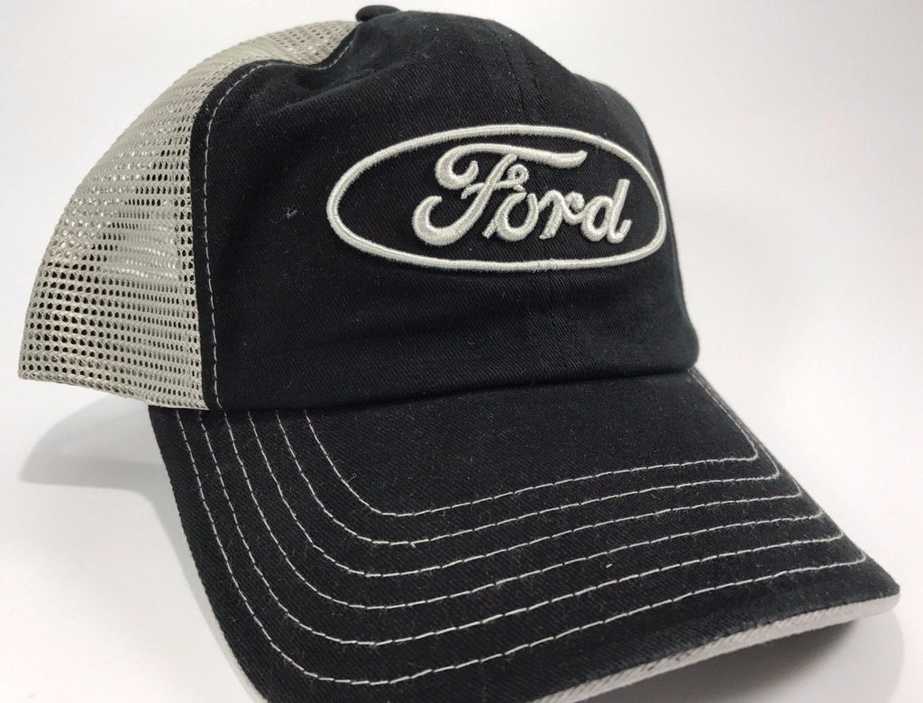Ford Emblem Hat - Black Front with Grey Mesh Backing (Front)