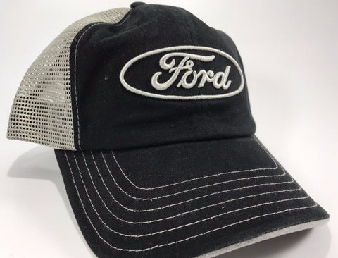 Image of Ford Emblem Hat - Black Front with Grey Mesh Backing (Front)