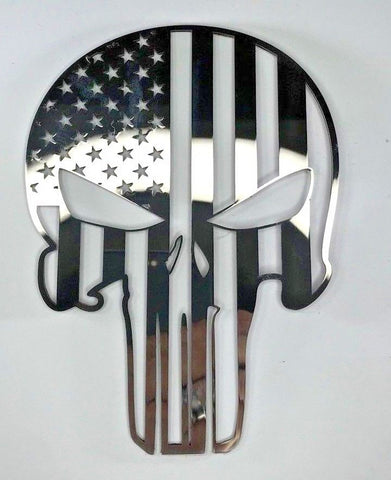 Image of American Flag Punisher Skull Emblem - Polished Stainless Steel - Main
