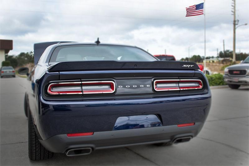 Pair of 2015-2018 Dodge Challenger Tail Light Trim Overlays - Stainless Steel - Installed